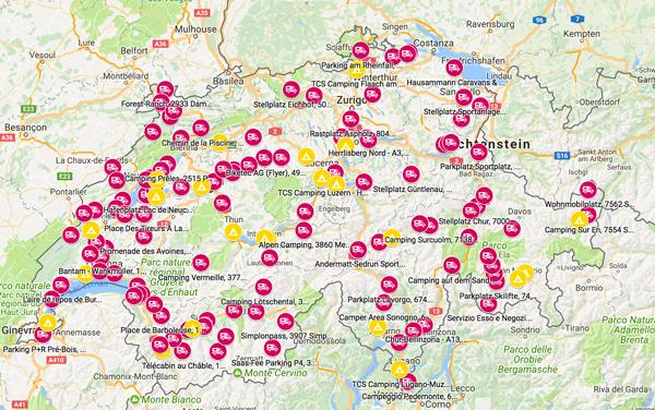 Aree di scarico per camper in Svizzera